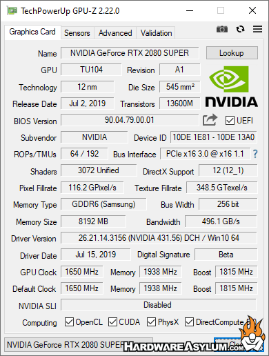 Nvidia GeForce RTX 2080 Super Video Card Review - Benchmark