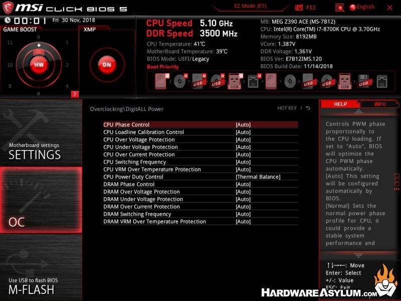 MSI MEG Z390 ACE Motherboard Review - UEFI Features   Hardware Asylum